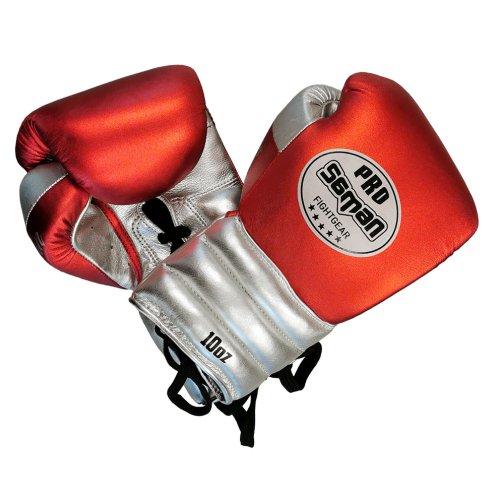 Boxkesztyű, Saman, Event Gloves, bőr, fűzős, meggy-ezüst