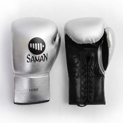 Boxing gloves, Felix Promotion, laced, silver, 8 oz méret