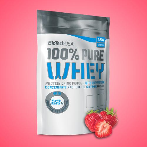 Biotech, 100% Pure Whey, 454 g, 16 ízben, Eper ízek