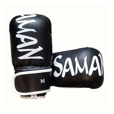 Zsákolókesztyű, Saman, műbőr, fekete/fehér, Smash