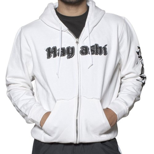 Hoodie, Hayashi, Karate-Do, with zip, white