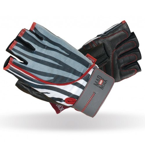 Fitness gloves, Mad Max, Nine-Eleven, for women, Zebra mintás szín, S size