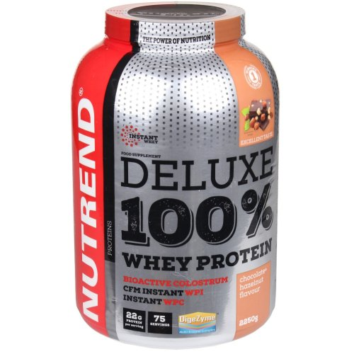 NUTREND DELUXE 100% WHEY PROTEIN - 2250G, Csokoládé-mogyoró ízek