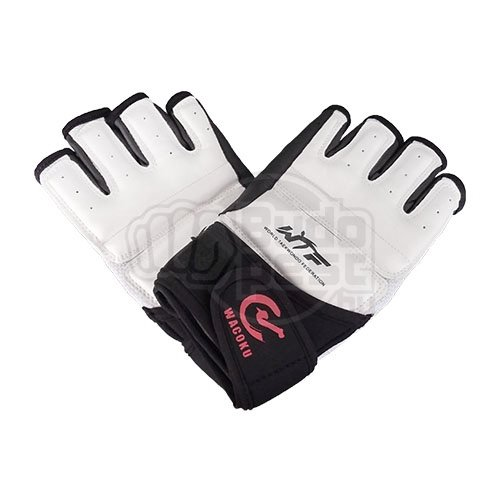 Taekwondo gloves, WTF, Wacoku, white/black, M size